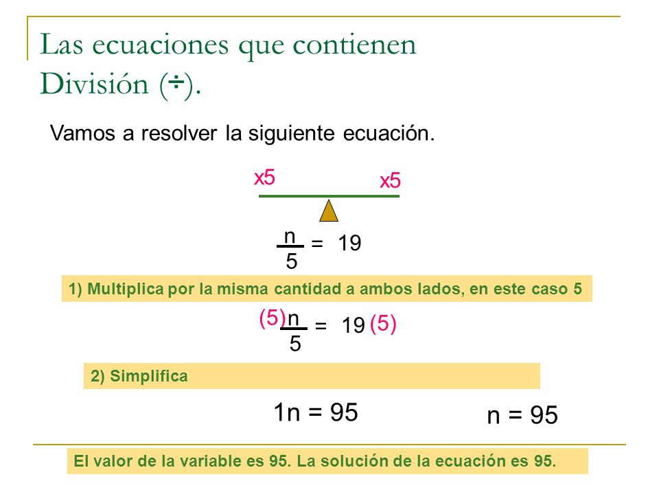 Las ecuaciones que contienen División (÷).