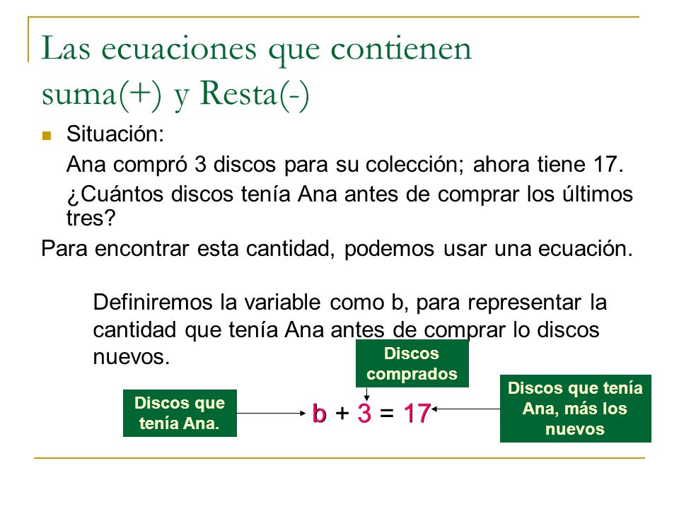 Las ecuaciones que contienen suma(+) y Resta(-)