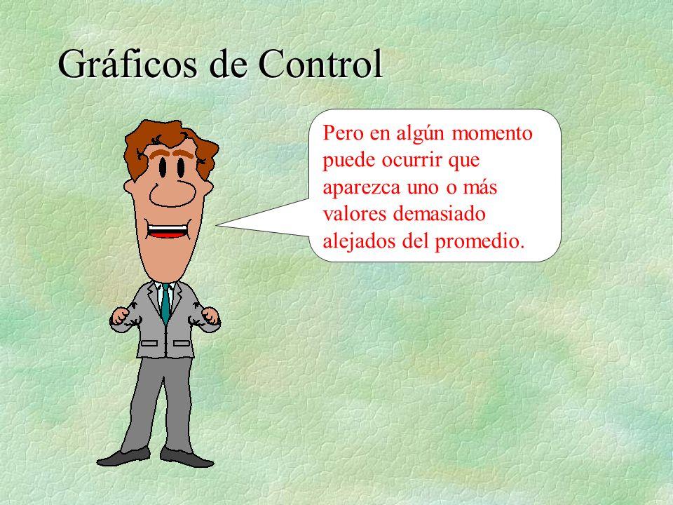 Gráficos de ControlPero en algún momento puede ocurrir que aparezca uno o más valores demasiado alejados del promedio.