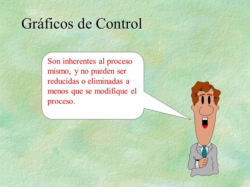 Gráficos de Control Son inherentes al proceso mismo, y no pueden ser reducidas o eliminadas a menos que se modifique el proceso.