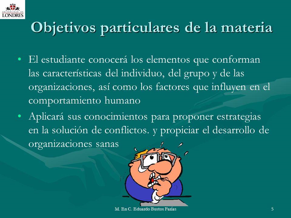 Objetivos particulares de la materia