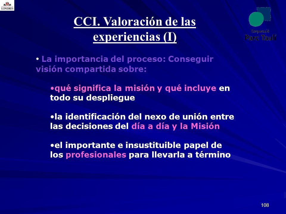 CCI. Valoración de las experiencias (I)
