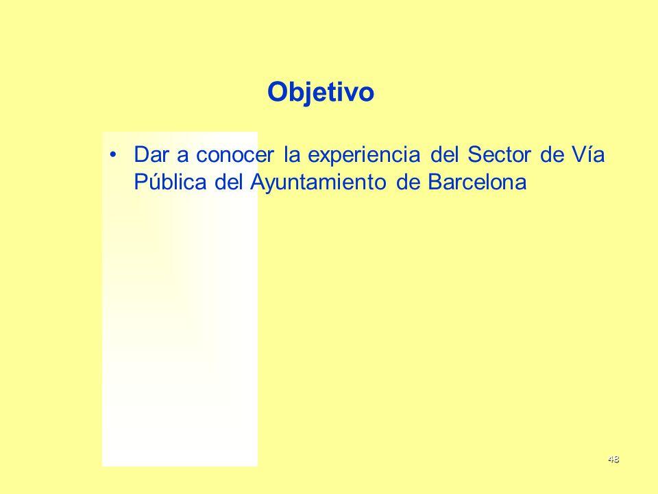 Objetivo Dar a conocer la experiencia del Sector de Vía Pública del Ayuntamiento de Barcelona 2