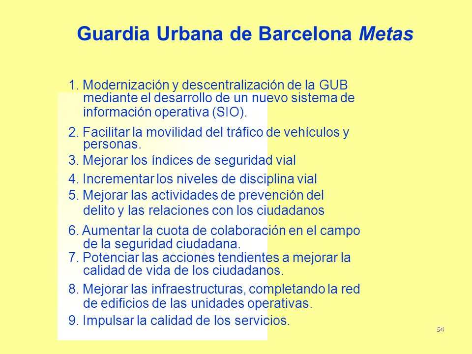 Guardia Urbana de Barcelona Metas