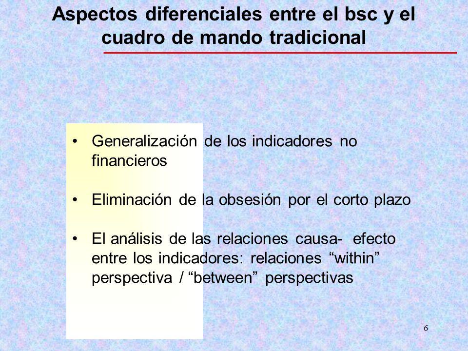 Aspectos diferenciales entre el bsc y el cuadro de mando tradicional