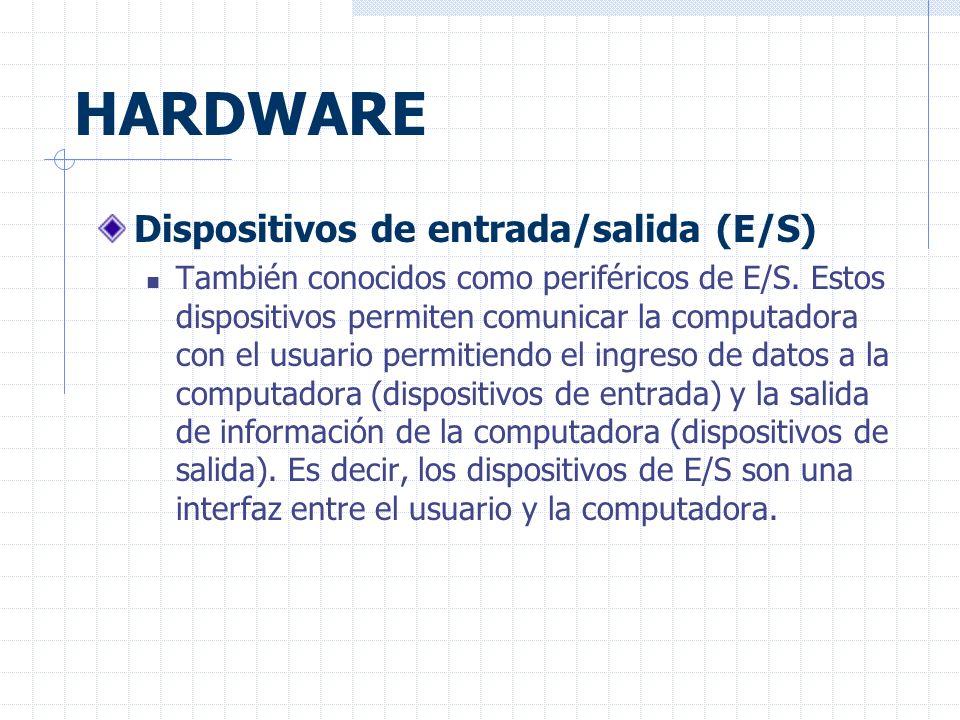 HARDWARE Dispositivos de entrada/salida (E/S)