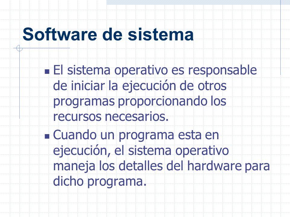 Software de sistema El sistema operativo es responsable de iniciar la ejecución de otros programas proporcionando los recursos necesarios.