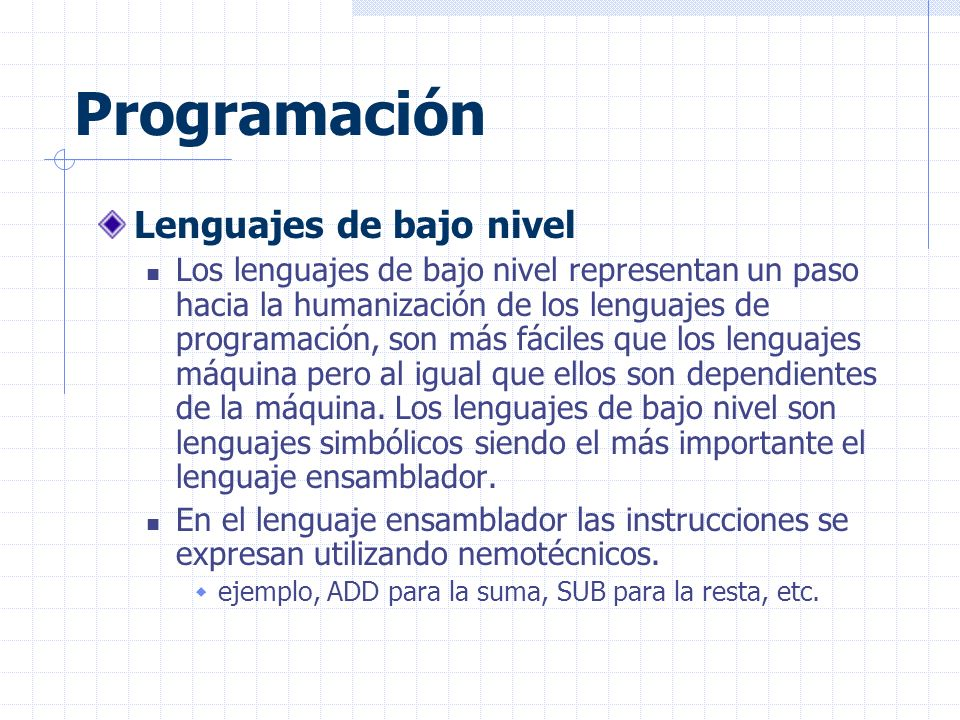 Programación Lenguajes de bajo nivel
