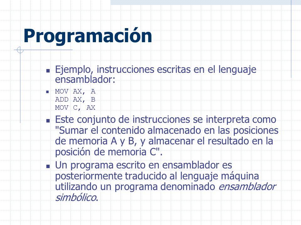 Programación Ejemplo, instrucciones escritas en el lenguaje ensamblador: MOV AX, A ADD AX, B MOV C, AX.