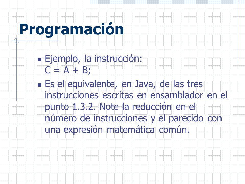 Programación Ejemplo, la instrucción: C = A + B;