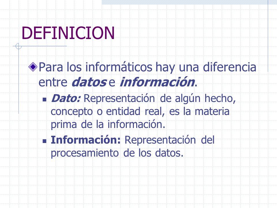 DEFINICION Para los informáticos hay una diferencia entre datos e información.