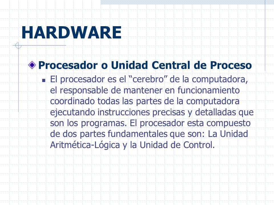 HARDWARE Procesador o Unidad Central de Proceso