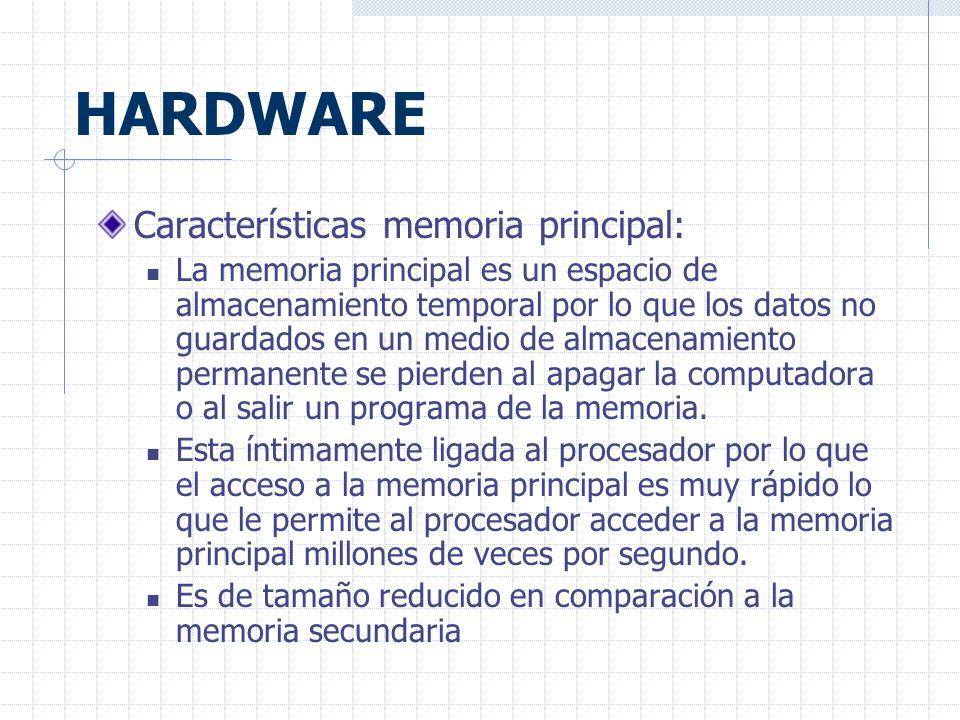 HARDWARE Características memoria principal: