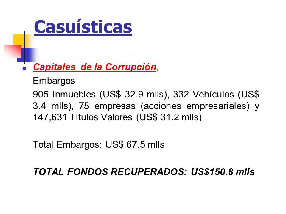 Casuísticas Capitales de la Corrupción, Embargos