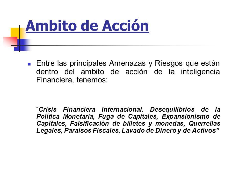 Ambito de AcciónEntre las principales Amenazas y Riesgos que están dentro del ámbito de acción de la inteligencia Financiera, tenemos: