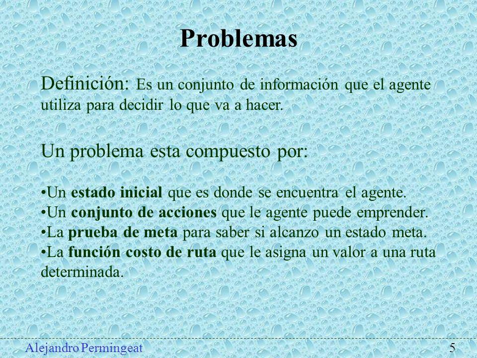 Problemas Definición: Es un conjunto de información que el agente utiliza para decidir lo que va a hacer.