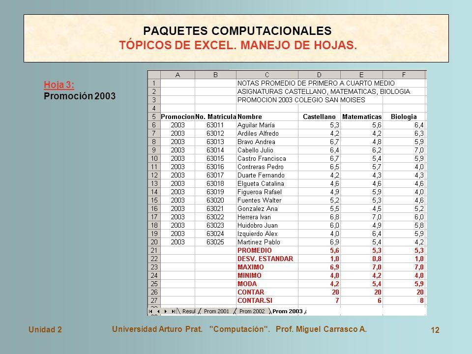 PAQUETES COMPUTACIONALES TÓPICOS DE EXCEL. MANEJO DE HOJAS.