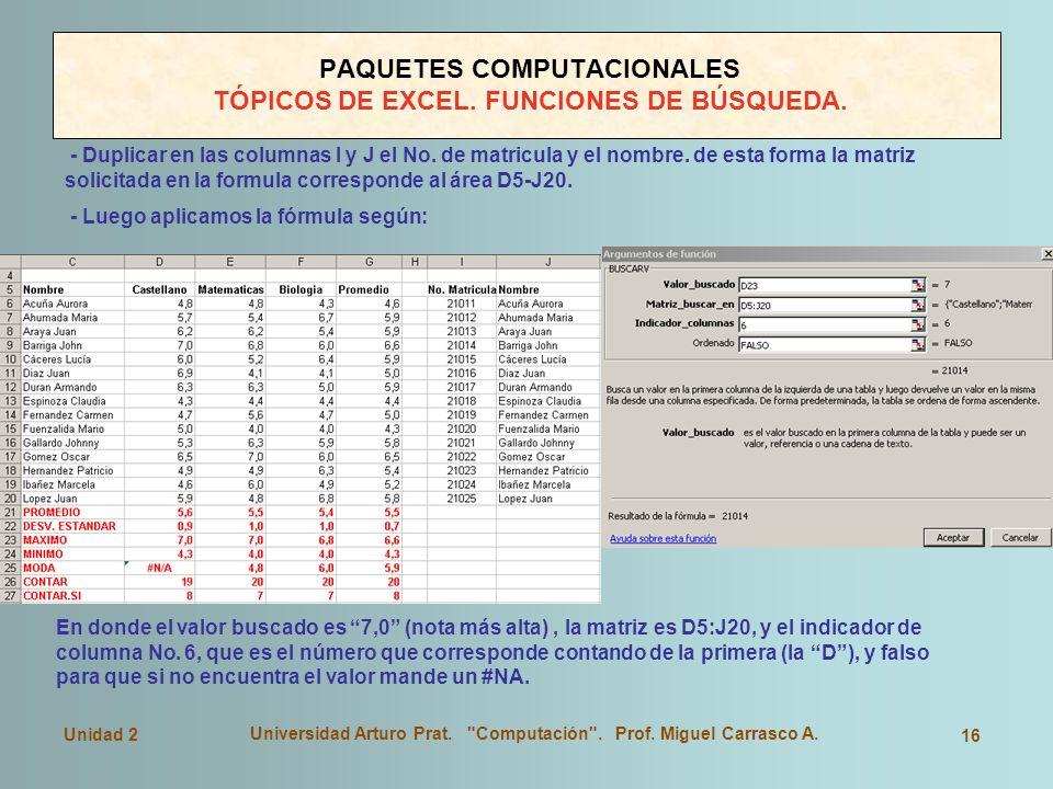 PAQUETES COMPUTACIONALES TÓPICOS DE EXCEL. FUNCIONES DE BÚSQUEDA.