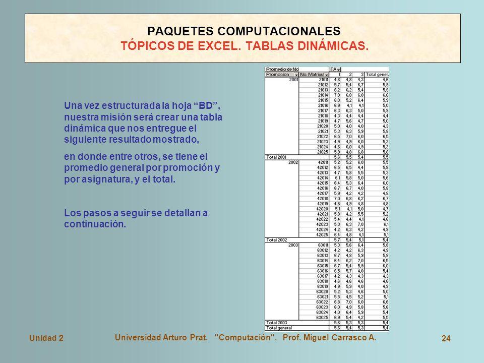 PAQUETES COMPUTACIONALES TÓPICOS DE EXCEL. TABLAS DINÁMICAS.