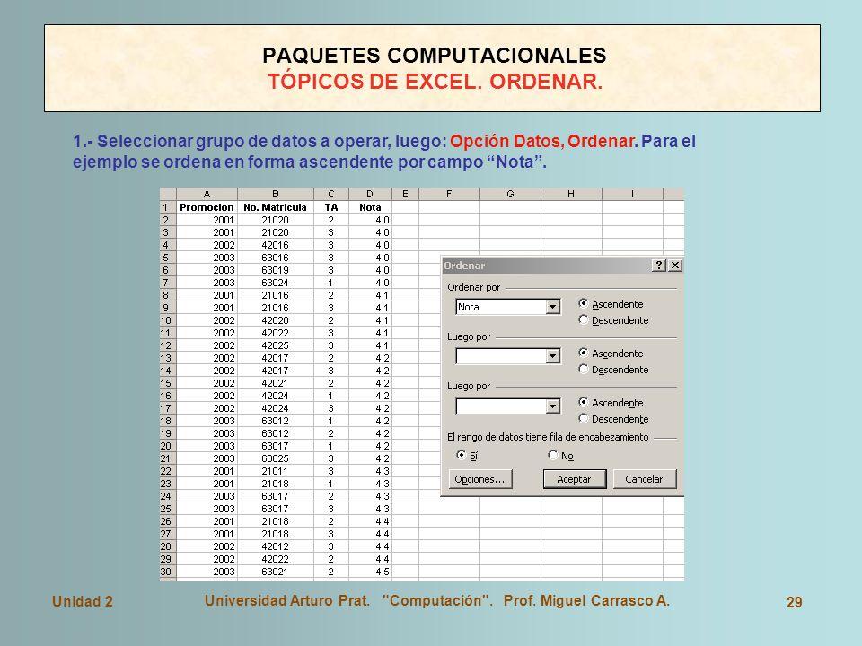 PAQUETES COMPUTACIONALES TÓPICOS DE EXCEL. ORDENAR.
