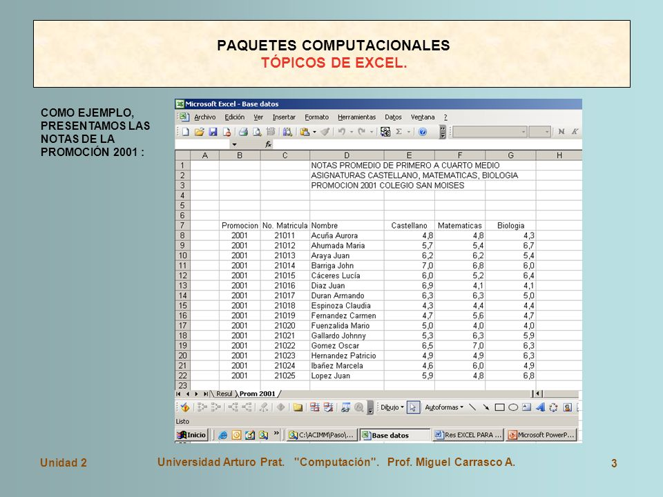 PAQUETES COMPUTACIONALES TÓPICOS DE EXCEL.