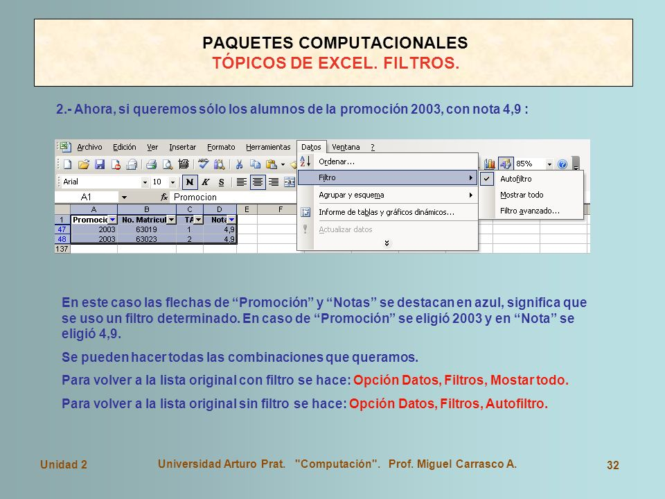 PAQUETES COMPUTACIONALES TÓPICOS DE EXCEL. FILTROS.