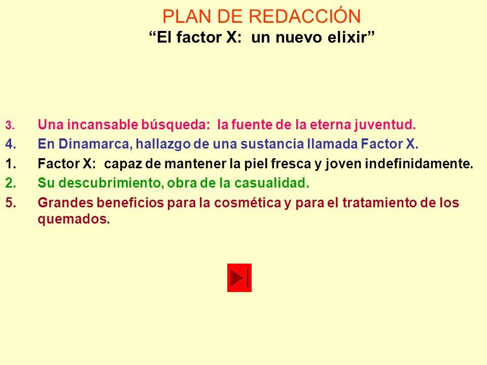 PLAN DE REDACCIÓN El factor X: un nuevo elixir