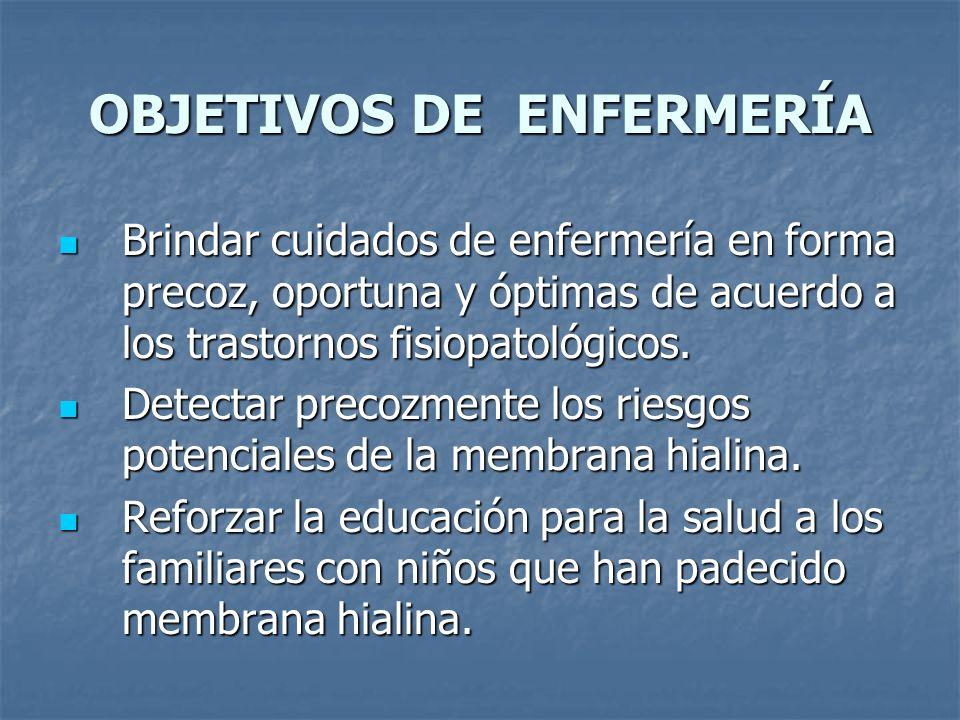 OBJETIVOS DE ENFERMERÍA