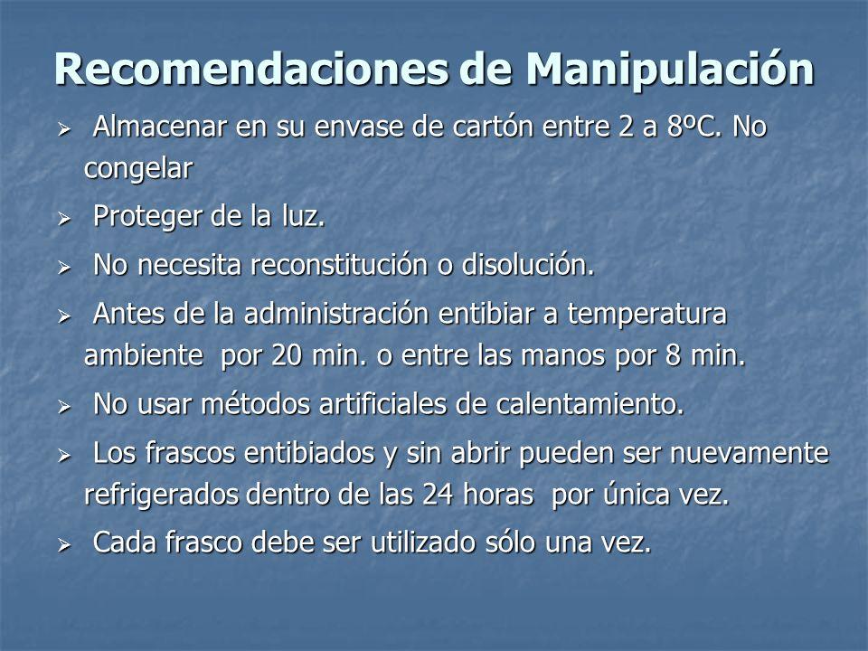 Recomendaciones de Manipulación