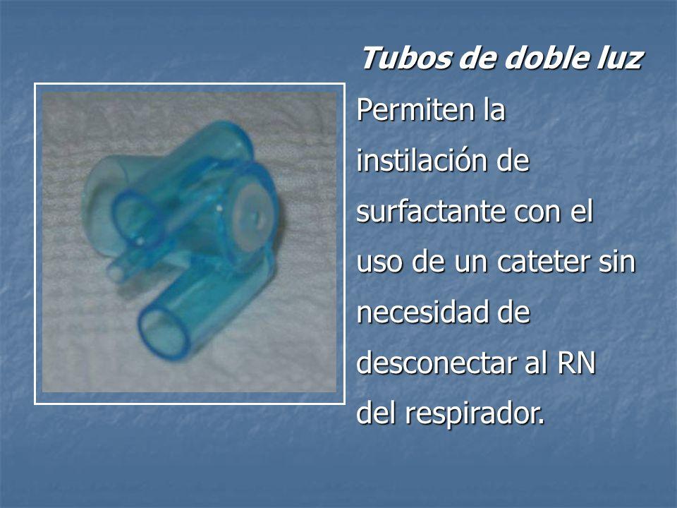 Tubos de doble luz Permiten la instilación de surfactante con el uso de un cateter sin necesidad de desconectar al RN del respirador.
