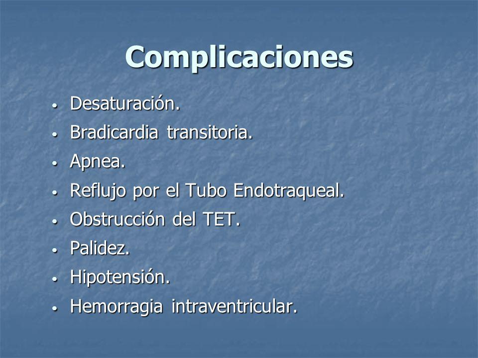 Complicaciones Desaturación. Bradicardia transitoria. Apnea.