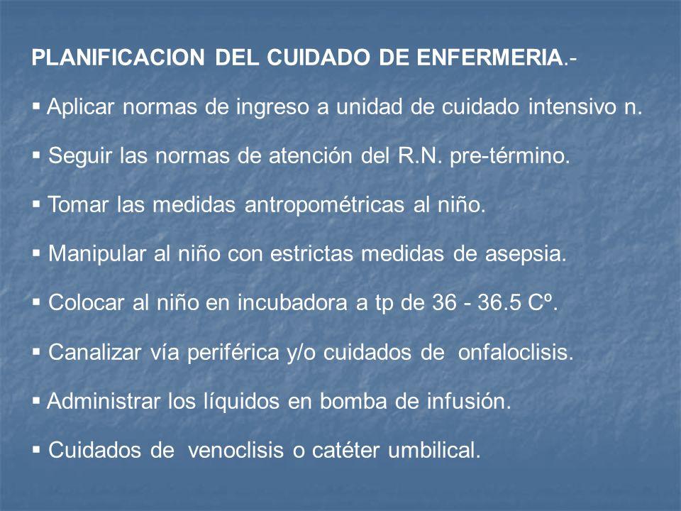 PLANIFICACION DEL CUIDADO DE ENFERMERIA.-