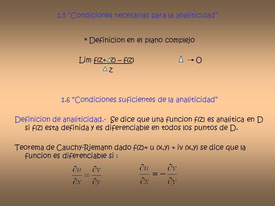 1.5 Condiciones necesarias para la analiticidad