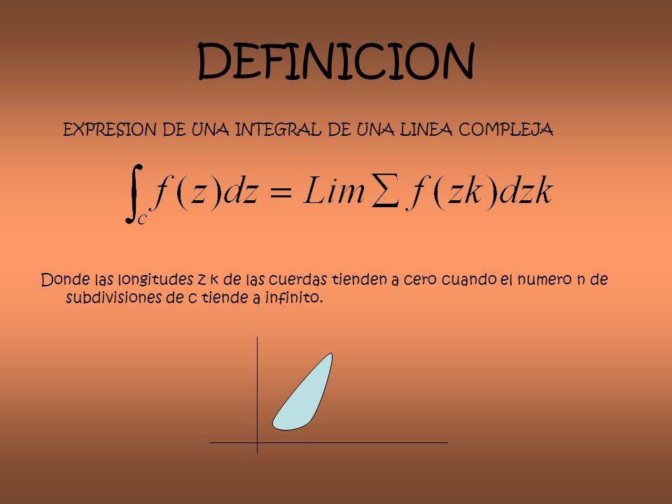 DEFINICION EXPRESION DE UNA INTEGRAL DE UNA LINEA COMPLEJA