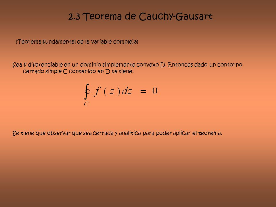 2.3 Teorema de Cauchy-Gausart