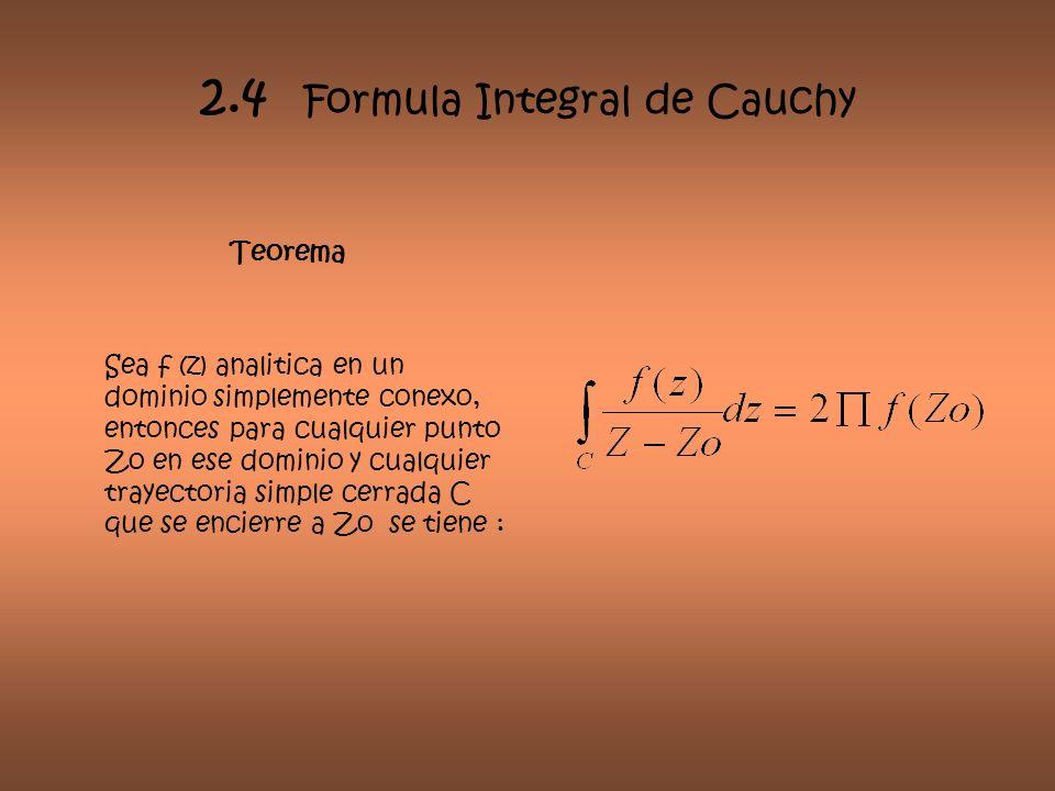 2.4 Formula Integral de Cauchy