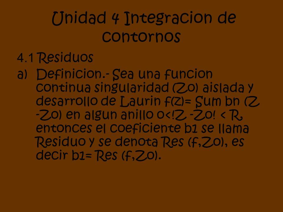 Unidad 4 Integracion de contornos