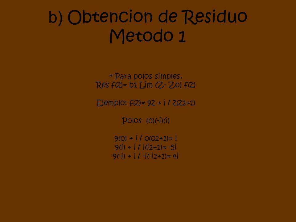 b) Obtencion de Residuo Metodo 1