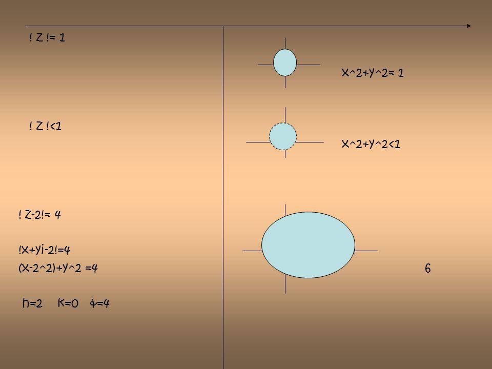 ! z != 1 x^2+y^2= 1. ! z !<1. x^2+y^2<1. ! z-2!= 4. !x+yi-2!=4.