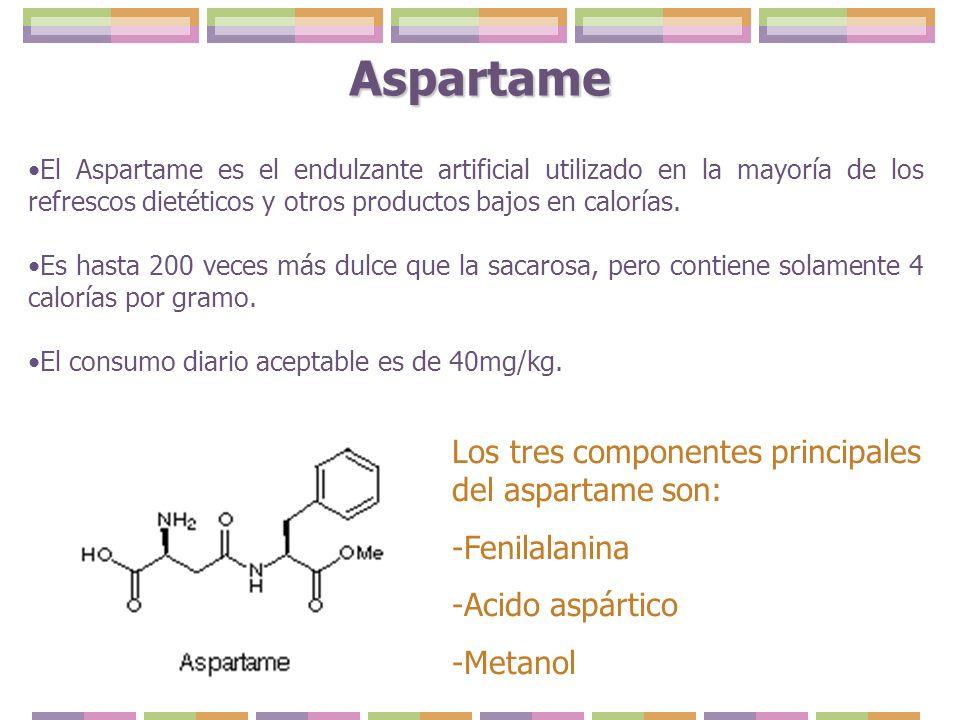 Aspartame Los tres componentes principales del aspartame son: