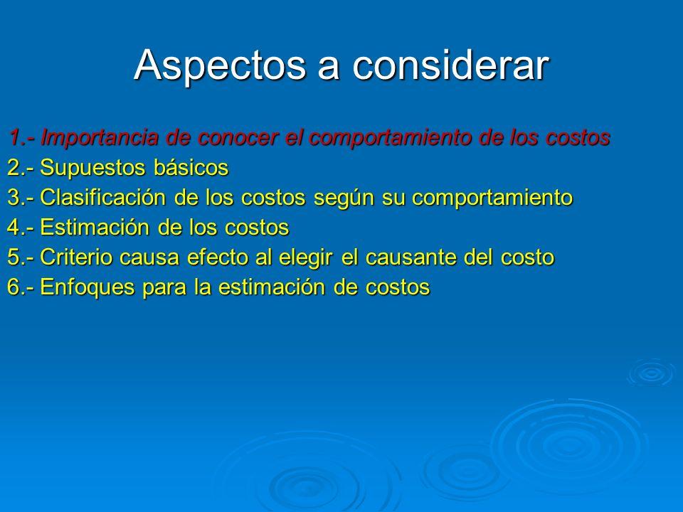 Aspectos a considerar 1.- Importancia de conocer el comportamiento de los costos. 2.- Supuestos básicos.