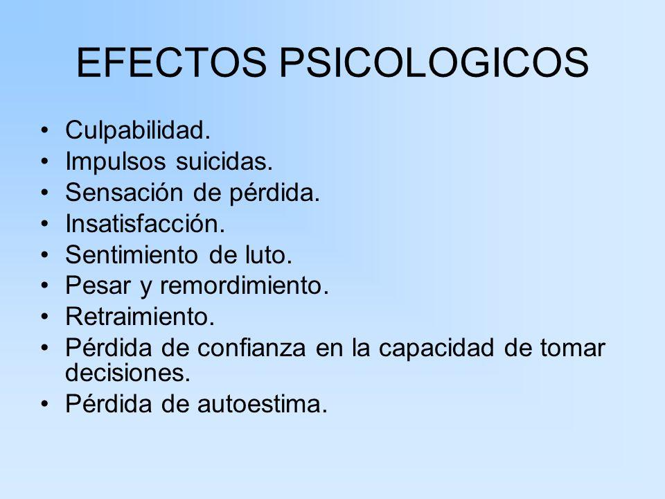 EFECTOS PSICOLOGICOS Culpabilidad. Impulsos suicidas.