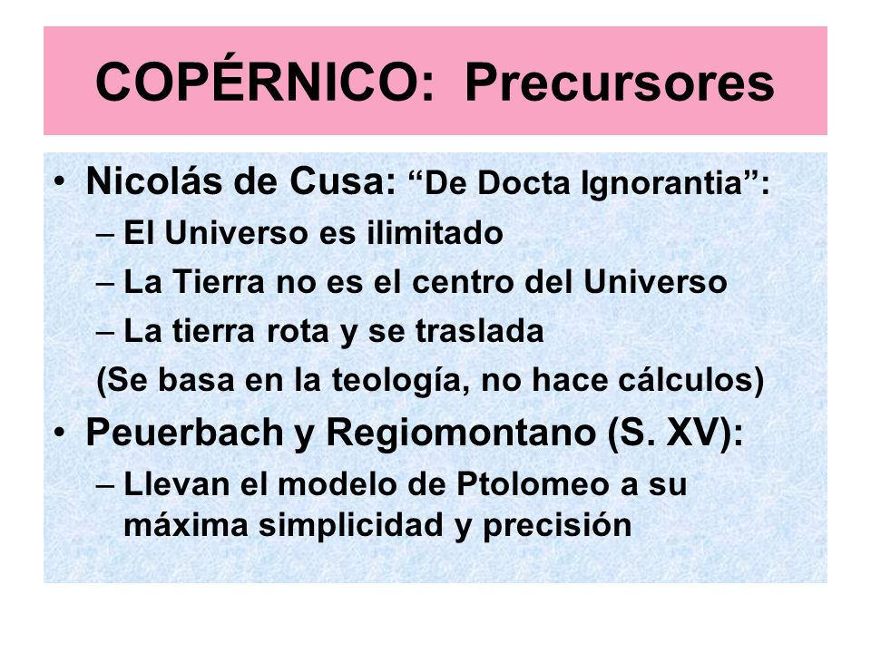 COPÉRNICO: Precursores