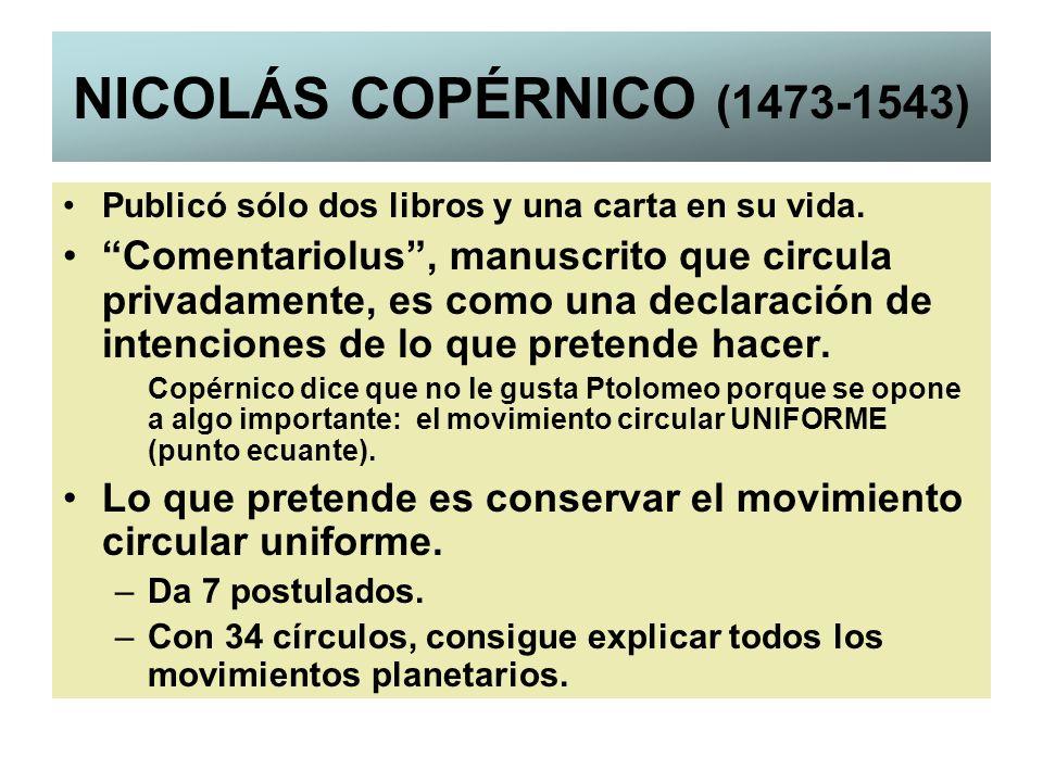 NICOLÁS COPÉRNICO (1473-1543) Publicó sólo dos libros y una carta en su vida.