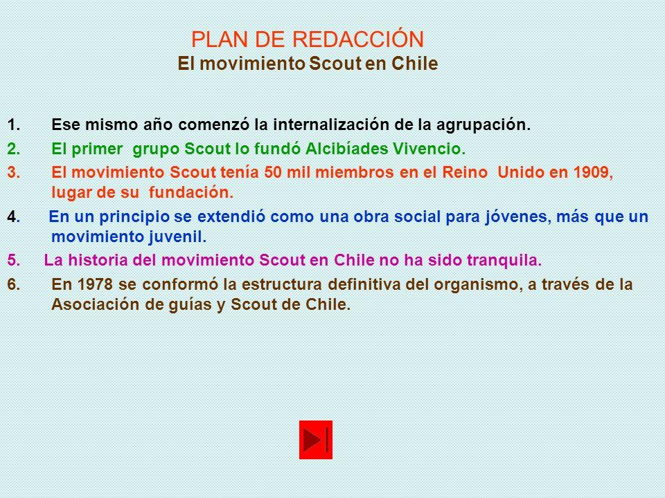 PLAN DE REDACCIÓN El movimiento Scout en Chile