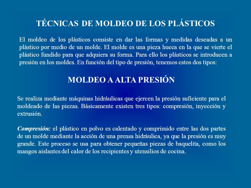 TÉCNICAS DE MOLDEO DE LOS PLÁSTICOS