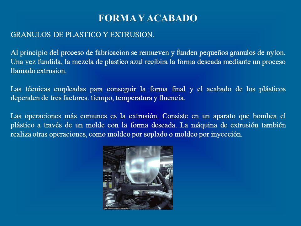 FORMA Y ACABADO GRANULOS DE PLASTICO Y EXTRUSION.