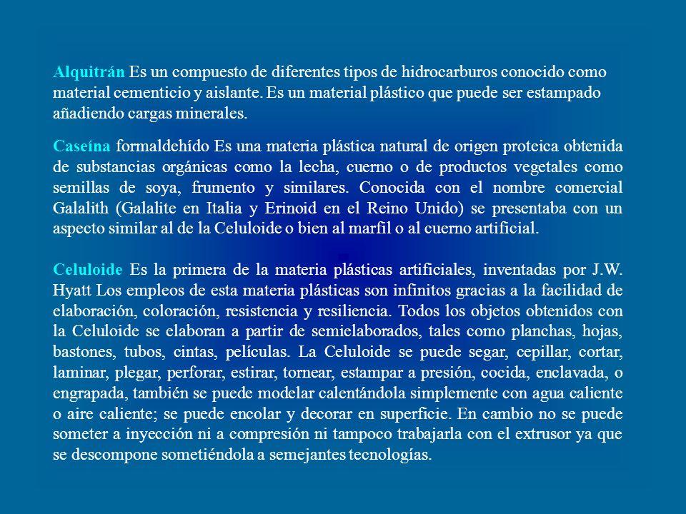 Alquitrán Es un compuesto de diferentes tipos de hidrocarburos conocido como material cementicio y aislante. Es un material plástico que puede ser estampado añadiendo cargas minerales.