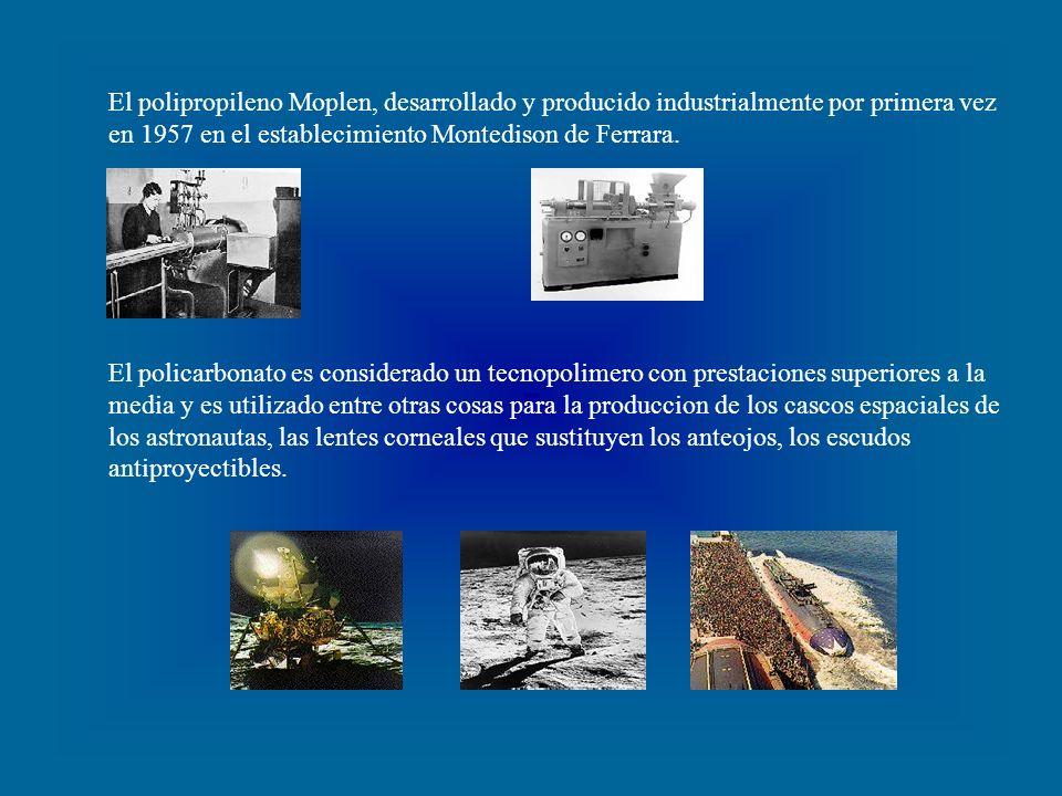 El polipropileno Moplen, desarrollado y producido industrialmente por primera vez en 1957 en el establecimiento Montedison de Ferrara.