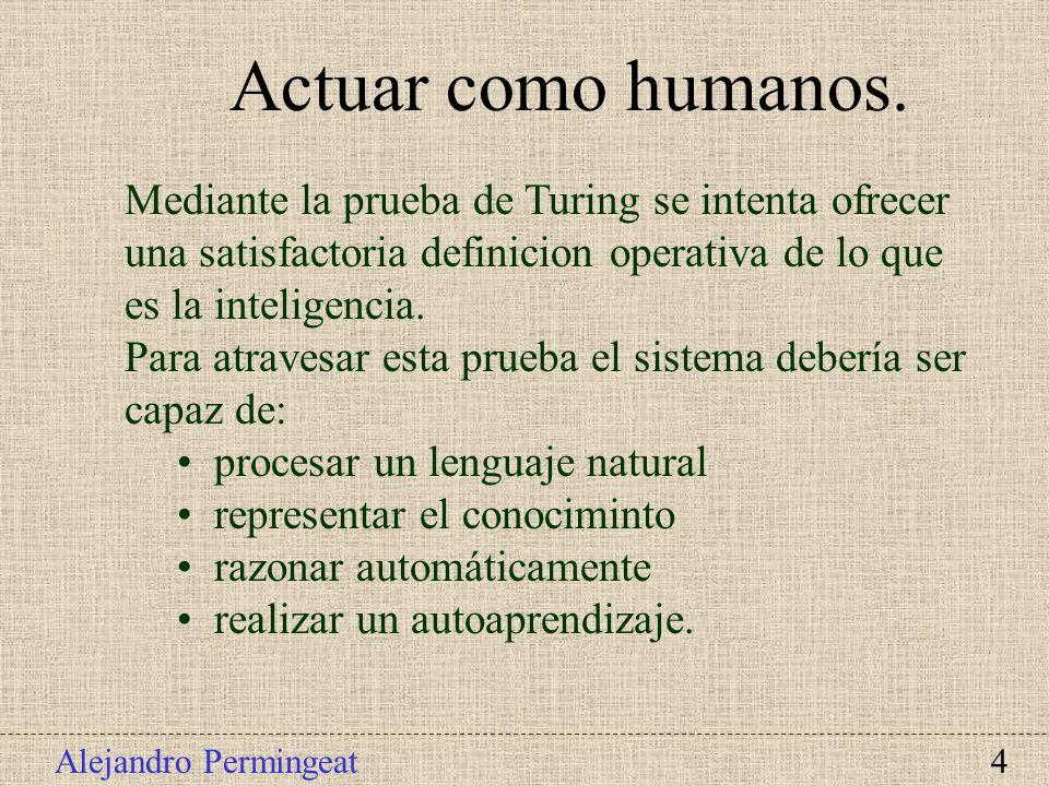Actuar como humanos. Mediante la prueba de Turing se intenta ofrecer una satisfactoria definicion operativa de lo que es la inteligencia.